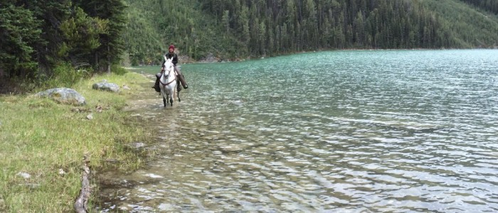 Horseback riding along the lake shores
