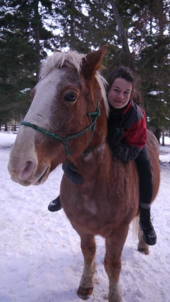 Kristin riding bareback on Windy