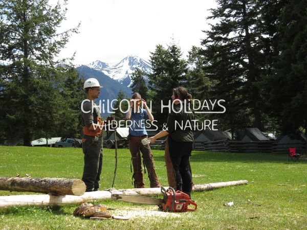 First Nation Log cabin Building and me from Switzerland